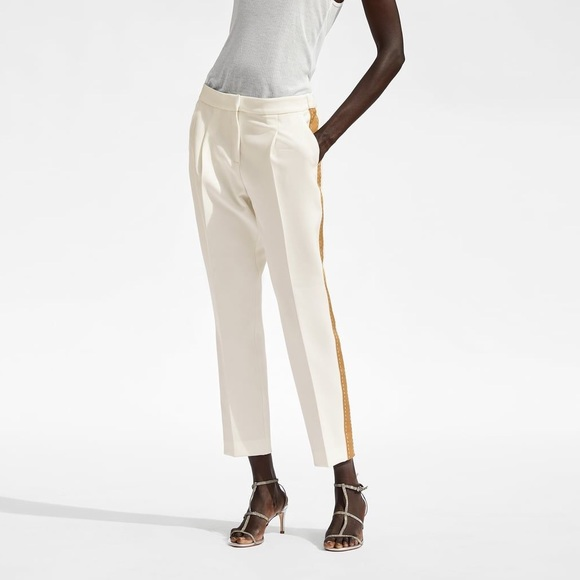Zara Pants - Zara white/creme trousers with tan stripe